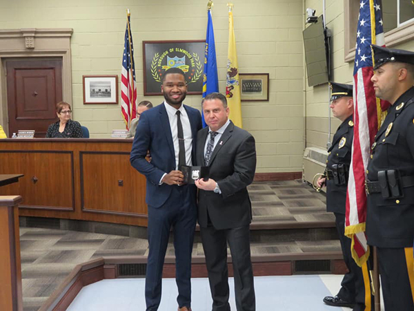 New police officer Lamont Griffin with Chief Michael Foligno